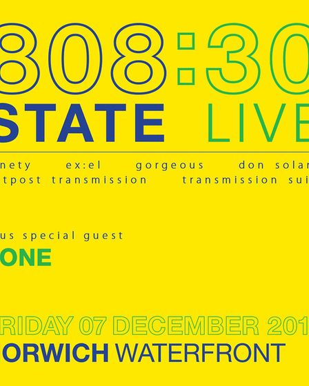 808 State's Norwich tour poster. Photo: Courtesy of James Masters