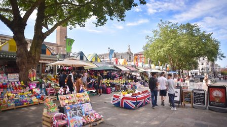 Norwich Market looking colourful in the summer sun.Picture: ANTONY KELLY