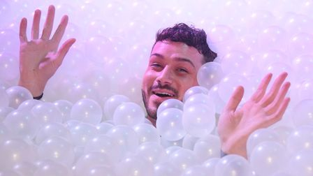 General manager Levi Solomon enjoying the new ball pit at Bished nightclub. Picture: DENISE BRADLEY