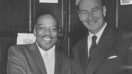 Arts and EntertainmentCount Basie, greeted by Geoffrey Watling at the Samson and Hercules in Norwich