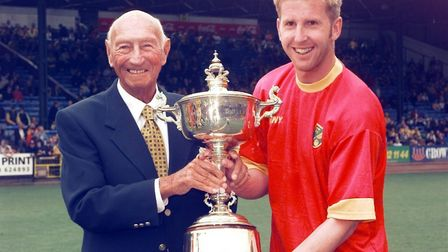 NORWICH CITY V. SWINDON.IWAN ROBERTS, PLAYER OF THE YEAR, RECEIVES THE BARRY BUTLER TROPHY FRON GEOF
