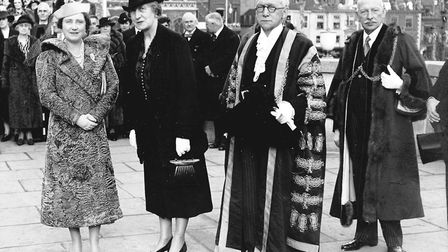 Queen Elizabeth the Queen Mother with Lord Mayor and Mayoress (Mr and Mrs Charles Watling) and Mr H