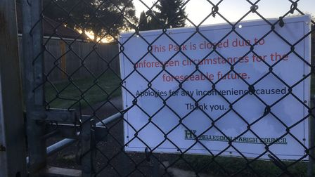 A sign on the gate to Mountfield Park in Hellesdon explaining its closure. Picture: David Hannant