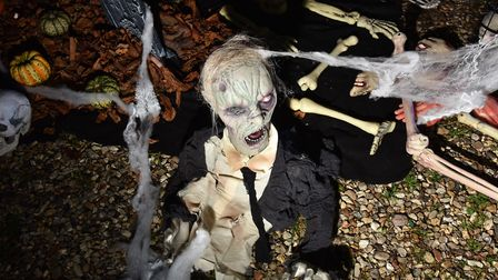 Tracey Fairweather outside The Buck pub where she's decorated up for Halloween. Byline: Sonya Duncan