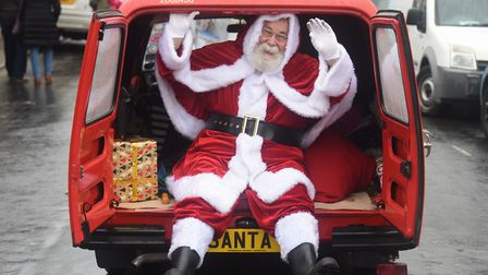 Father Christmas arrives in style at the Wymondham Wynterfest. Picture: DENISE BRADLEY