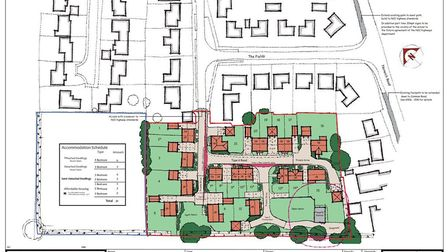 Indicative site layout of new housing development on land off The Fields in Tacolneston. Picture: So