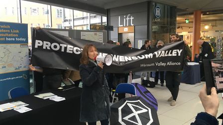 Climate change protesters at a Western Link event at The Forum in Norwich. Picture Dan Grimmer.