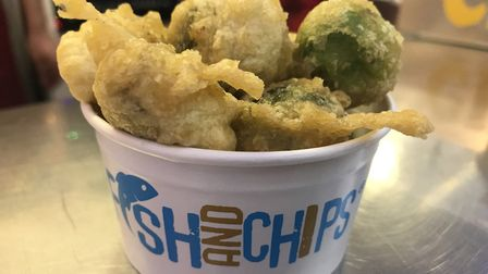 Festive deep fried Brussels sprouts available at Lucy's Fish and Chips on the market