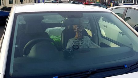 A scary skeleton was spotted strapped into the passenger seat of a car parked in Thorpe St Andrew. P