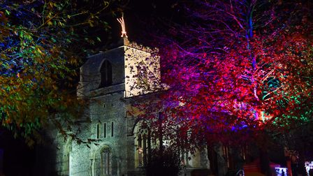 The Christmas lights go on at St Mary's Church at the Attleborough Carnival. Picture: DENISE BRADLE
