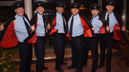 The Full Monty cast at the Theatre Royal. From left, Andrew Dunn, Gary Lucy, Louis Emerick, Kai Owen