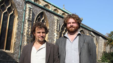 Brian Korteling and Will Teather outside St Andrews Hall - the venue for Art Fair East 2018