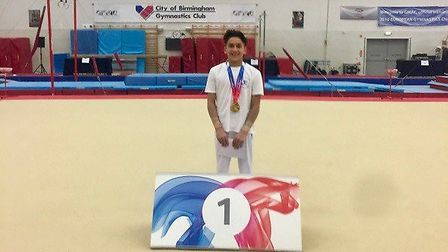 Ben Chirodian, 14, won a gold medal at the gymnastics finals in Birmingham. Picture: Glenys Halford
