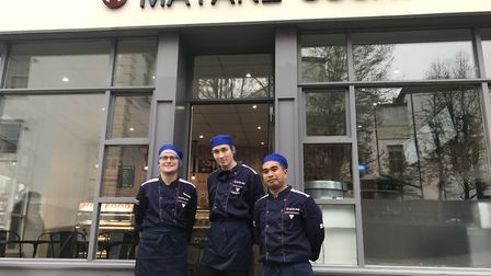 From left to right: Harry Cox, Andy Lao (owner) and Jerome Reyes, outside new sushi bar, Matane Sush