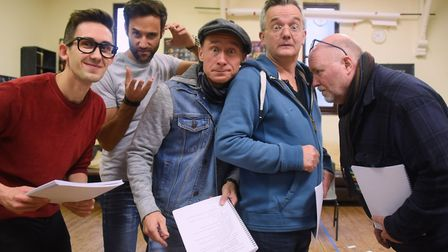 Some of the cast during a rehearsal of the Theatre Royal's panto Aladdin, from left, Steven Roberts