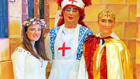 From left: Holly Warren who plays Guinevere; Roger Tuner who plays Connie Clatterbottom The Dame and