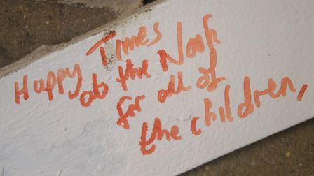 One of the messages on the steelwork inside the almost complete EACH children's hospice nook buildin