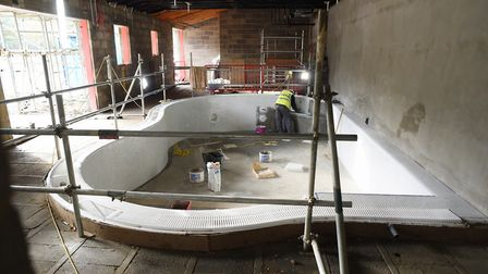 The hydrotherapy pool inside the almost complete EACH children's hospice nook building at Framingham