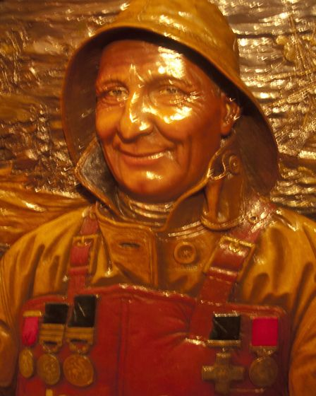 A depiction of Cromer lifeboatman Henry Blogg by John Moray-Smith, at Cromer Museum. Picture: ALAN T