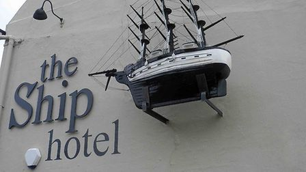 A sculpture of a ship by John Moray-Smith on the side of the Ship pub in Brancaster. Picture: ALAN T