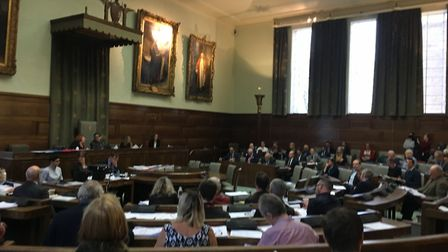 Councillors at the crunch Anglia Square meeting in Norwich. Picture Dan Grimmer.