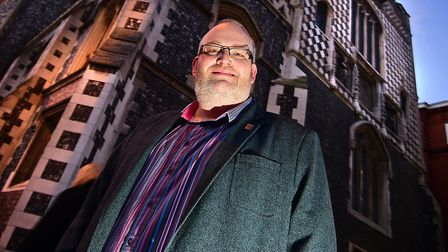 Alasdair Willett outside the escape room at Norwich Guildhall. Picture: ANTONY KELLY