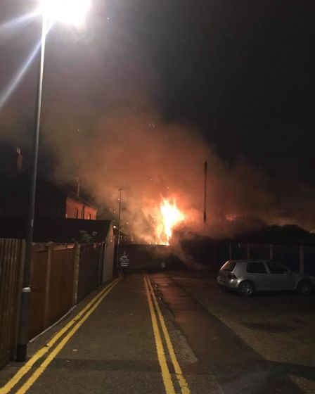 Fire in a stable behind the former Magpie Pub in Norwich. Picture Heidi Secker.