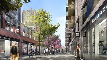 The view towards St Augustine's Church in the plans for Anglia Square. Photo: Weston Homes