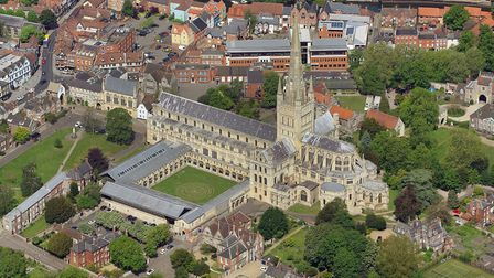 Aerial view of Norwich Cathedral. May 2018. Picture: Mike Page