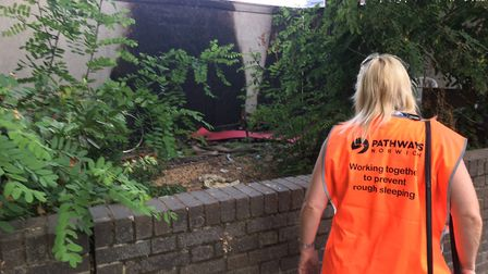 Pathways support workers on early morning outreach in Norwich. Picture: Dominic Gilbert