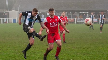 Swaffham Town's Joe Jackson fires home for the victory against near neighbours Downham Town on Boxin
