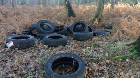Pile of tyres found fly tipped next to the Peddars Way in South Norfolk. Photo: Nigel Ford