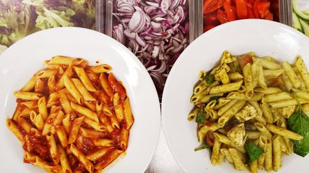 Pasta dishes at the Sportscafe at the University of East Anglia's Sportspark in Norwich. Picture: SP