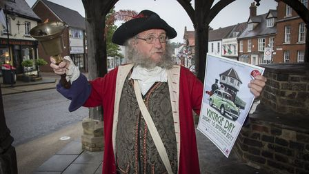 Wymondham town crier Pete Travis heralds the launch of this year's Wymondham Vintage Day. Picture: I