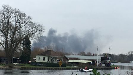 Smoke can be seen rising from the scene. Picture: Annabelle Dickson