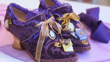 One of Emily Jupp's creations, the Shakespeare shoes, upcycled shoes that she has embellished at her