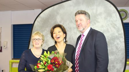 Principal Mr Neil McShane, chair of governors, Frances Harrod with the opera singer Soeun Jeon. Pict