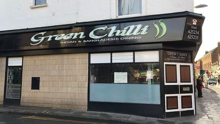 The Green Chilli restaurant on Magdalen Street, which has closed temporarily. Photo: Louisa Baldwin