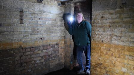 Sonja Gaffer in the World War Two air-raid shelter in her front garden. Picture: DENISE BRADLEY