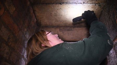 Sonja Gaffer takes a closer look at the old EDP and Evening News newspaper print marks on the ceilin