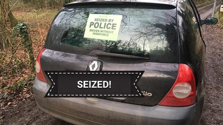 A car seized by Breckland Poilce after the driver was reported for driving without insurance. Pictur