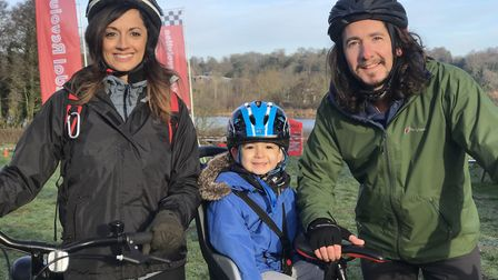 The Robinson Family from Long Stratton enjoyed their Saturday morning cycle around Whitlingham Broad