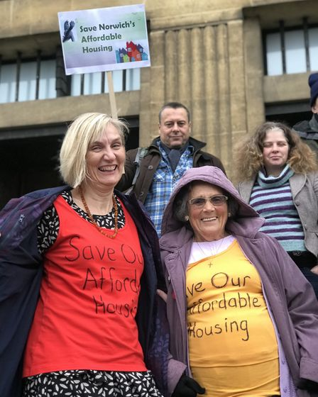 Lee Hooper (left) leading a protest ahead of a planning appeal hearing around St Peter's Methodist C
