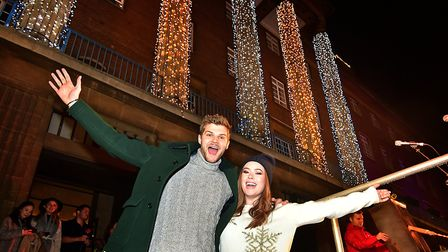 Norwich Christmas lights switch on. Tanya Burr and husband Jim Chapman.Picture: ANTONY KELLY