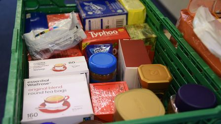 Food boxes at one of Norwich Foodbank's distribution centres, based at the New Hope Christian Centre