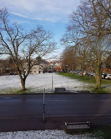 Wymondham saw a dusting of snow overnight on Wednesday. Photo: Submitted