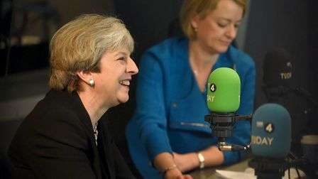 BBC News political editor Laura Kuenssberg with Prime Minister Theresa May on BBC Radio 4's Today Pr