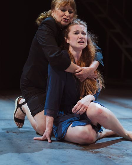 Ishia Bennison and Karen Fishwick as Nurse and Juliet in the Royal Shakespere Company's Romeo and Ju