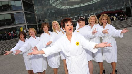The stars of the show Calendar Girls, including Norwich born Ruth Madoc(centre), in Norwich outside