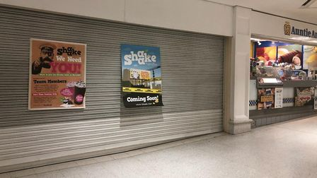 Posters have gone up in Castle Mall in Norwich advertising a new Shaake store. Picture submitted.